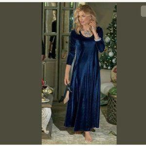 Soft Surroundings Santiago Blue Velvet Maxi Dress